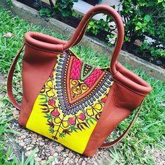 L.E cabas fouretout en cuir et pagne Addis-Ababa