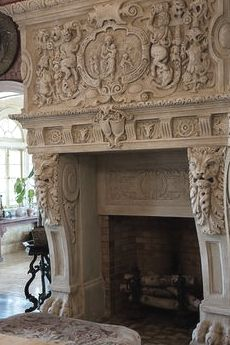 Carved limestone fireplace
