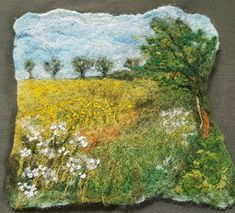 Online Felt Landscape Pictures 2 week Course, £45 Your felt picture will be based on one of your own landscape images; you will be given guidance... Nuno Felting, Needle Felting, Felt Wall Hanging, Landscape Art Quilts, Wool Felt, Felted Wool, Felt Pictures, Felt Cat, Landscape Pictures