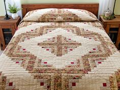 Log Cabin Quilt -- magnificent ably made Amish Quilts from Lancaster (hs6608)