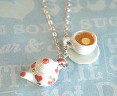 Tea Set Necklace - Tea Set - Ideas of Tea Set - this necklace features a miniature ceramic teapot pendant along with a lemon tea cup charm. both hangs on a silver tone chain necklace that measures 24 in length We All Mad Here, Teapots And Cups, Ceramic Teapots, My Cup Of Tea, Bijoux Diy, Tea Time, Biscuit, Tea Party, Jewelery