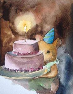 happy birthday, ginger small, hamster, cake, light, pink cake, watercolor, illustration, kidlitart