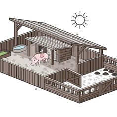How to Set up a Pig Pen. Pigs are surprisingly clean animals, and you may make a pig miserable by simply building a cage around a mud puddle. Pigs need protection from the elements in the same way that humans do, and they need separate areas to eat, play, Pig Farming, Backyard Farming, Farming Ideas, Letters Ideas, Pig Pen, Homestead Farm, Homestead Layout, Pet Pigs, Animal Shelters