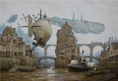 Muddy town, airships [Tide by *voitv on deviantART]