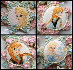 Galletas - Cookies - Disney Frozen cookies by Cookie Cowgirl Disney Cupcakes, Disney Cookies, Frozen Cookies, Star Cookies, Frozen Cake, Iced Cookies, Cupcake Cookies, Cartoon Cookie, Princess Cookies