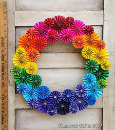 "16"" Rainbow Themed Folded Paper Wreath embellished with colored gems"