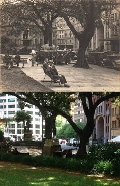 Macquarie Place Park, Sydney, looking towards Bridge St circa 1935 & [circa 1935 - - Phil Harvey. By Phil Harvey] Then And Now Pictures, Pictures Of People, Old Photos, Vintage Photos, Phil Harvey, Australian Road Trip, Sydney City, Amazing Pics, Historical Pictures