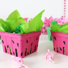 Decorate berry baskets to look like watermelons for a fun way to hand out party favors!!