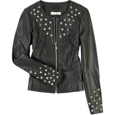 Rachel Gilbert Phoenix studded leather jacket (£240) ❤ liked on Polyvore featuring outerwear, jackets, coats, tops, leather jacket, stitch jacket, genuine leather jackets, studded leather jacket, real leather jackets and leather jackets