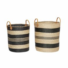 BASKET W/HANDLE. SEAGRASS. NATURE/BLACK.