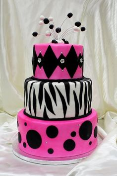 Hot Pink and Black Dots, Zebra & Diamond Print Birthday Cake