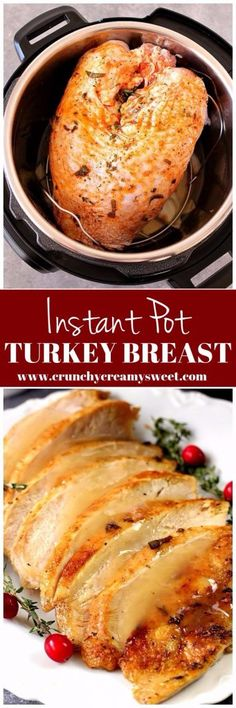 Instant Pot Turkey Breast Recipe - juicy turkey breast cooked in pressure cooker in just 35 minutes! The best way to save time preparing Thanksgiving dinner.