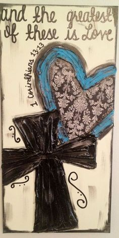Paisley Turquoise Heart & Cross Textured Canvas by ClassyCanvas