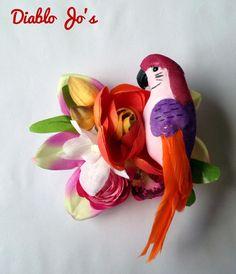 Parrot Hair flower Purple and Orange, Tropical, Rockabilly, Summer Alternative hair, Pin Up by DiabloJos on Etsy
