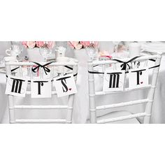 These unique chair banners label the seats of honor with Mr and Mrs! The Mr and Mrs wedding chair signs feature by sturdy. Wedding Reception Chairs, Wedding Chair Signs, Tiffany Chair, Mr And Mrs Wedding, Moon Design, Bridal Accessories, Wedding Decorations, Wedding Ideas, Wedding Favors