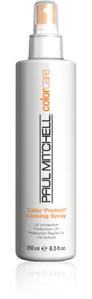 Paul Mitchell's Color Protect Locking Spray provides ultimate UV protection to prevent color fade. Plus it locks in and extends the life of hair color and makes hair look conditioned and super shiny. You can find the complete Color Care line at Hair Impressions!