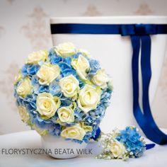 bukiet ślubny róże hortensja biało niebieski