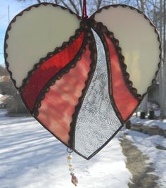Stained Glass Heart with Swarovski Crystal by Ladyvaleriangothshop, $50.00