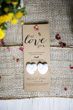 Love is like wildflowers; Its often found in the most unlikely places  Share the sights, smells and magic of Australias nature with family and friends, living locally and overseas, with a gift of native Everlasting Daisy seed bombs. A gift and a card in one, this favour is the perfect little gift that keeps on giving. Each card is personalised with your name(s) and special occasion, and comes with two heart seed bombs. Each seed bomb is handmade, containing Western Australian wildflower…