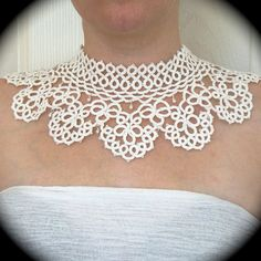 Tatted Lace Collar Choker Necklace Timeless White by TotusMel