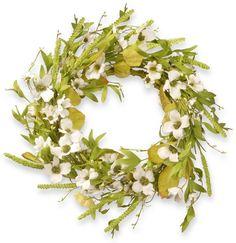 National Tree Co. 22 Dogwood Wreath. A pretty wreath for spring and summer. Cheery, pleasing. #wreaths #doordecor #afflnk #funkthishouse