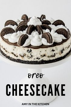The BEST Oreo Cheesecake recipe! An easy to make, decadent, cookies and cream filled cheesecake with an Oreo cookie crust, chocolate ganache and homemade whipped cream! # oreo cheesecake recipes The Most Amazing Oreo Cheesecake! The Best Oreo Cheesecake Recipe, Cookies And Cream Cheesecake, Easy Cheesecake Recipes, Dessert Recipes, Cheesecake Cupcakes, Cheesecake Bites, Cheesecake With Oreo Crust, Raspberry Cheesecake, Pumpkin Cheesecake