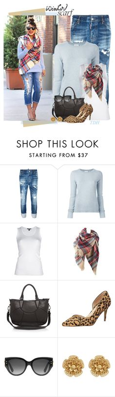 """Plaid Scarf"" by talvadh ❤ liked on Polyvore featuring Dsquared2, Le Kasha, Roberto Cavalli, Liebeskind, Gucci, Miriam Haskell and scarf"
