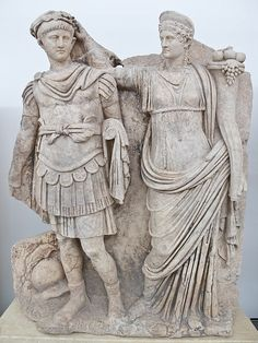 Emperor Nero and his mother Agrippina the Younger (or Agrippinilla) widow (and alleged poisoner) of Emperor Claudius, Roman relief (marble), 1st century AD, (Aphrodisias Site Museum, Turkey).