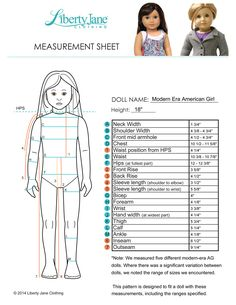 American Girl Doll Measurement Chart. Most Liberty Jane 18 inch doll clothes patterns are designed with these measurements in mind - some less fitted designs fit a variety of 18 inch dolls includng pre-mattel American Girl Dolls.
