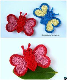 #Crochet Heart Butterfly Applique Free Pattern