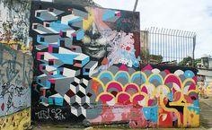 Vila Madalena — Guided graffiti walks. Work by OBranco in Beco do Aprendiz