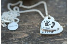 First Impressions Heart Duo Necklace £270 | Two descending heart charms featuring the hand and footprints of your children, a stunning keepsake for her | www.joulberry.com