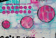 Documented Life Project with Mary Nasser Below are details of the Gelli printing, Stabilo, underpaper and vintage ledger paper along with stenciling, washi tape, pink paint marker, and illegible writing in black permanent marker.