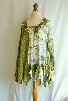 Woman's Upcycled Clothing Olive Yellow Tunic Tattered Fairy Romantic Dress Upcycled Colothing Eco Friendly Style Funky Shabby Chic. $67.89, via Etsy.