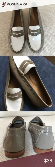 Bass•Weejuns•Original•loafers•Tan/Taupe/White•sz 8 Totally cool and in amazing condition. No real sign of wear (please look at pictures)  I believe they have been tried on and were showroom samples. Handcrafted•All leather•Outer•Inner and cushioned sole. These are Original G.H.  Bass Weejuns•sz 8. Shoes Flats & Loafers