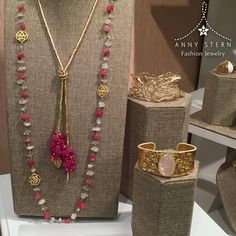 * THINK PINK! *  #TBT at our amazing fashion booth at ENK Accessories Circuit Show in New York! This amazing pink set is perfect to make any outfit shine! 18k Gold filled + Rose Quartz & Hot Pink (Magenta Dye) Agate. What are you waiting for?  >> Have you visited our website today? Fall in love with our collections and exclusive gemstone pieces at www.annystern.com <<
