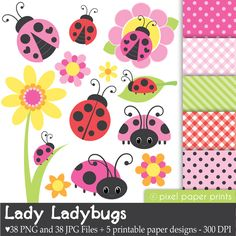 Cute bugs Clipart and Digital Paper Set Etsy Photoshop Elements, Project Yourself, Art Images, Print And Cut, Party Supplies, Zentangle, Greeting Cards, Etsy, Quilts