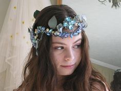 Blue Jeweled Mermaid Wreath Circlet Boho Headpiece Boho Hippie Bride, Boho Headpiece, Dress Sash, Circlet, Vintage Pearls, Boho Wedding Dress, Vintage Crochet, Turquoise Beads, Blues
