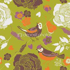 Aves em um jardim de frutas — Ilustração de Stock #14817923
