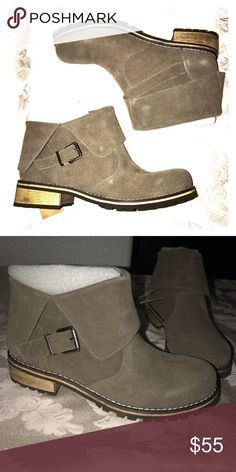 AEO Boots AEO fold over buckled boots. New in box, color Taupe. Size 8 but runs half a size big so fits an 8 and a half. American Eagle Outfitters Shoes Ankle Boots & Booties