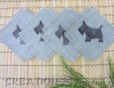 Woven Coasters Glass Mats, Schnauzer Scotties Scottish Terrier Dog, Set of 4, Fringed Fringes Square Beige Brown Gray Grey VINTAGE (131)