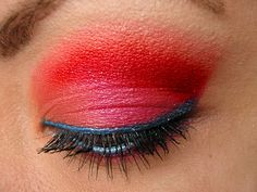 Hot/Warm tones. Hot Chili, Fire & Ice Inspired Eye Makeup, Red & Black.