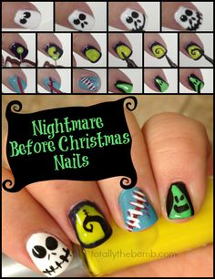 How To Paint Nightmare Before Christmas Nails. Perfect for Halloween Nail Art. Fancy Nails, Cute Nails, Pretty Nails, My Nails, Simple Nail Art Designs, Easy Nail Art, Cool Nail Art, Christmas Nail Art, Holiday Nails