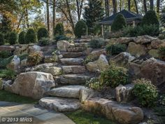 Rustic Landscape/Yard – Stairs, rock garden or dry creek, love this for the side of the hill. - All For Garden Sloped Backyard Landscaping, Rustic Landscaping, Landscaping On A Hill, Sloped Yard, Landscaping With Rocks, Backyard Patio, Landscaping Ideas, Inexpensive Landscaping, Backyard Designs