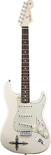 #1:  Fender Kenny Wayne Shepherd Stratocaster Electric Guitar, Rosewood Fingerboard - Arctic White w/ Cross Graphic