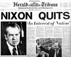 Richard Nixon (37th President of the US - 1969 to 1974) resigns the office of the President. Bum