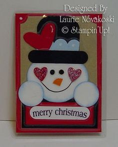 Magnet from Laurie video . Snowman Magnet by Laurie Novakoski and demonstrated by Dawn.Snowman Magnet by Laurie Novakoski and demonstrated by Dawn. Noel Christmas, Christmas Greetings, Handmade Christmas, Christmas Crafts, Winter Cards, Holiday Cards, Stampin Up Cards, Cricut Cards, Punch Art Cards