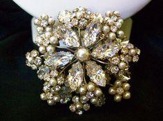 Stunning Faux Pearl Ice Rhinestone Dimensional Brooch Pin by Schreiner Vintage | eBay