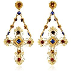 DOLCE & GABBANA Cross Clip Earrings ($1,032) found on Polyvore featuring jewelry, earrings, accessories, dolce & gabbana, gold, cross jewelry, filigree jewelry, cross earrings, swarovski crystal jewelry and dolce&gabbana