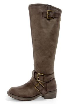 Check it out from Lulus.com! Leave your fashion legacy across the nation in the boot that's beloved from coast to coast! The Madden Girl Legacie Brown Belted Knee-High Motorcycle Boots do it right, with lightly crinkled dark brown vegan leather that has a smoky finish and a chunky round toe in classic moto boot style. Two shiny brass buckles finish a wraparound ankle strap, tying in a third buckle that adjusts a notched, 15